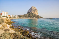 Calpe, Alicante, Arenal Bol beach with Penon de Ifach mountain. Royalty Free Stock Photos