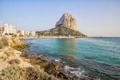 Calpe, Alicante, Arenal Bol beach with Penon de Ifach mountain. Royalty Free Stock Photos