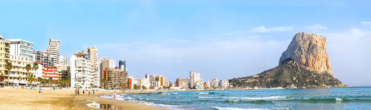 Calpe, Alicante, Arenal Bol beach with Penon de Ifach mountain. Stock Images