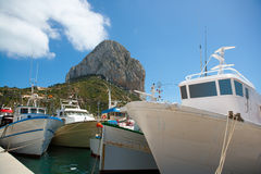 Calpe Alicante fisherboats with Penon de Ifach. In Mediterranean Spain Royalty Free Stock Photos