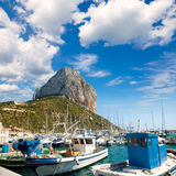 Calpe Alicante marina boats with Penon de Ifach. Mountain in Mediterranean sea of Spain Royalty Free Stock Photos