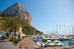 Calpe Alicante marina boats with Penon de Ifach Royalty Free Stock Photos