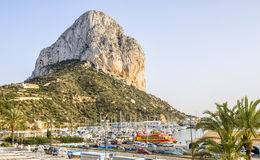 Calpe Alicante marina boats with Penon de Ifach mountain. Stock Image
