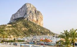 Calpe Alicante marina boats with Penon de Ifach mountain. Stock Image