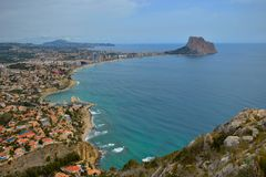 Calpe, Alicante, Mediterranean,sea, nice views, blue,sky, cloude, heaven, Stock Photography
