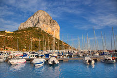 Calpe in alicante with Penon Ifach mountain. And marina boats Royalty Free Stock Photo