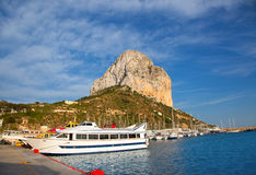 Calpe in alicante with Penon Ifach mountain. And marina boats Stock Photography