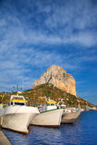 Calpe in alicante with Penon Ifach mountain. And marina boats Royalty Free Stock Image