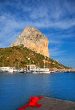 Calpe in alicante with Penon Ifach mountain. And marina boats Royalty Free Stock Photography
