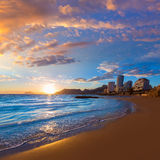 Calpe Alicante sunset at beach Cantal Roig Stock Images