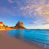 Calpe Alicante sunset at beach Cantal Roig. In Mediterranean Spain Stock Image