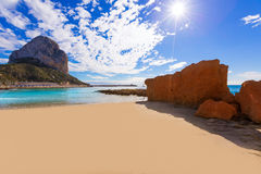 Calpe Alicante sunset at beach Cantal Roig Royalty Free Stock Image