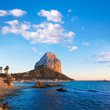 Calpe Alicante sunset at beach Cantal Roig. In Mediterranean Spain Royalty Free Stock Images