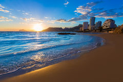 Calpe Alicante sunset at beach Cantal Roig Stock Photos