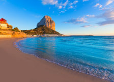 Calpe Alicante sunset at beach Cantal Roig Royalty Free Stock Images
