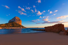 Calpe Alicante sunset at beach Cantal Roig Stock Photo