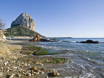 Calpe Beach. Image of the beach and harbopur of the touristic town of Calpe, located in the Costa Blanca of Spain Stock Images