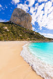 Calpe Cala el Raco beach in Mediterranean Alicante Royalty Free Stock Photography