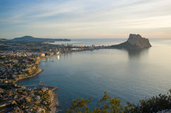 Calpe. Costa Blanca resort Calpe from a high angle viewpoint Royalty Free Stock Photos