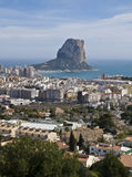 Calpe Overview. Aerial view of the town of Calpe (Costa Blanca - Spain), with the Mediterranean Sea and the Rock of Ifach on the background Royalty Free Stock Image