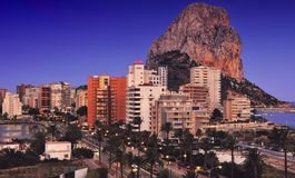 Calpe and the Penon de Ifach at Night Stock Images