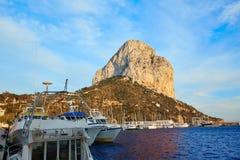 Calpe Penon DE Ifach rots in Middellandse-Zeegebied Royalty-vrije Stock Afbeeldingen