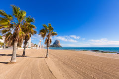 Calpe playaArenal Bol strand Alicante Arkivbild