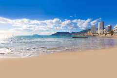 Calpe playaCantal Roig strand Alicante royaltyfri foto