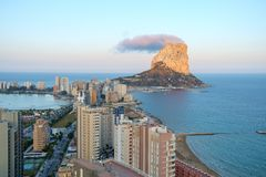 Calpe Rock, Ifach, seen from downtown, Costa Blanca, Spain Stock Images