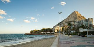Calpe, Spain - November 13, 2017: coast with a view of the cliff of Calpe, Ifach. Calpe, Spain - November 13, 2017- coast with a view of the cliff of Calpe Royalty Free Stock Image