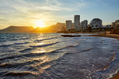 Calpe sunset in Mediterranean in cantal roig Stock Images