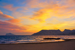 Calpe sunset in Mediterranean in cantal roig Royalty Free Stock Images
