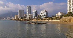 Calpe winter day light sea coast bay 4k. Spain calpe winter day light sea coast bay 4k stock footage
