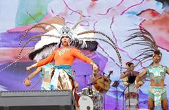 Calpulli Mexican Dance Group performs at F1 Bahrain 2013 Stock Image