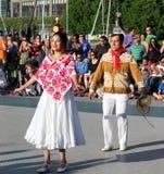 Calpulli mexicanskt dansföretag Fotografering för Bildbyråer