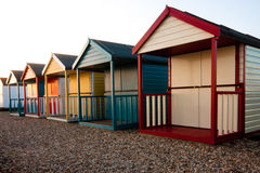 Calshot beach huts. Colourful beach huts in Calshot Southampton stock images