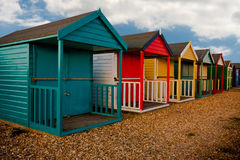 Calshot beach huts. Colourful beach huts in Calshot Southampton royalty free stock images