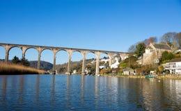 Calstock is een burgerlijke parochie en een groot dorp in zuidoostencornwall, Engeland, het Verenigd Koninkrijk, Stock Foto