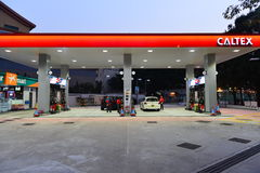 Caltex fuel station at evening Stock Images