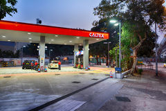 Caltex fuel station at evening Stock Image