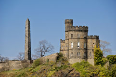 Calton cemetery and obelisk Edinburgh Stock Photos
