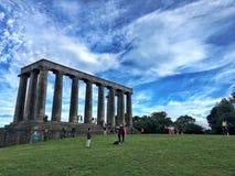 Calton-Hügel und Nationaldenkmal Edinburgh Schottland lizenzfreie stockbilder