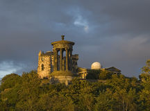 Calton Hill. View of Calton Hill, Edinburgh looking upwards from Old Calton Cemetery, with the Dugald Stewart Monument prominent, a memorial to the Scottish Stock Photography