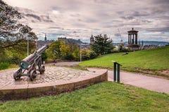 Calton Hill Cannon royalty free stock photos