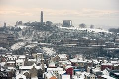 Calton Hill, Edinburgh, Scotland, in the snow Royalty Free Stock Photos