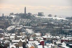 Calton Hill, Edinburgh, Scotland, in the snow Royalty Free Stock Photos