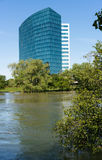 CALtrs building and flooded river in Sacramento California royalty free stock photo
