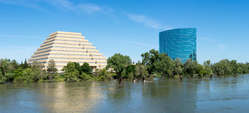 CALtrs and Ziggurat buildings in Sacramento California stock photography