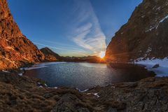 Caltun lake in Fagaras Mountains Stock Photography