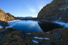 Caltun lake in Fagaras Mountains Royalty Free Stock Photography